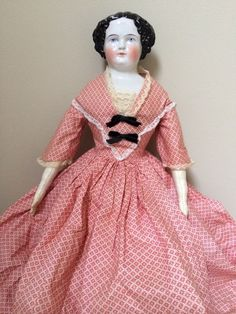 Antique 1800s German Flat Top China Head Doll 20in tall