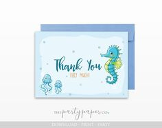 Under the Sea Birthday Thank You Cards - Printable - INSTANT DOWNLOAD