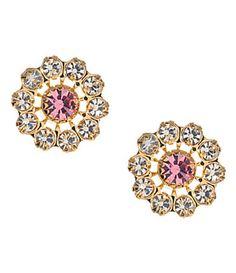 Betsey Johnson Iconic Pink Crystal Stud Earrings