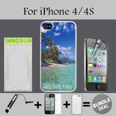 Hawaii Aloha Vintage Custom iPhone 4 Cases/4S Cases-Clear-Plastic,Bundle 3in1 Comes with HD Screen Protector/Universal Stylus Pen by innosub. 3in1 BUNDLE INCLUDED: iPhone 4/4S Case+Mini Stylus Pen+HD Screen Protector. Compatible with iPhone 4/4S - Verizon, AT&T, T-Mobile, Sprint, International models. Our Cases Comes with Advanced Shock Absorption Technology, Also Includes HD Screen Protector and Mini Stylus Pen Fine Point. Protective slim case features a specialized coating to provide...