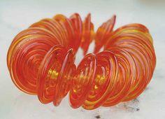 20 Tangerine Slim Discs , handmade glass beads in dark blue , lampwork beads by Beadfairy Lampwork, SRA