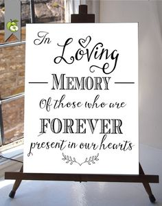 In Loving Memory Wedding Sign Memorial Table 8x10 and 5X7inches  DIY Printable INSTANT DOWNLOAD your wedding  Table Sign whitesuite