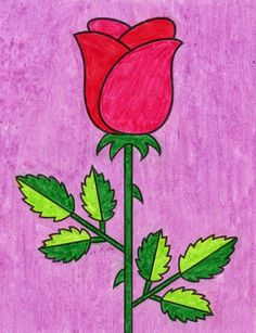 Flower Drawing For Kids, Basic Drawing For Kids, Simple Flower Drawing, Easy Flower Drawings, Drawing Lessons For Kids, Easy Drawings For Kids, Art Lessons, Simple Rose, Easy Rose