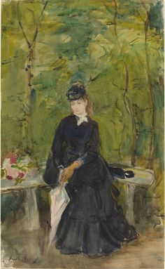 Morisot, Berthe  French, 1841 - 1895The Artist's Sister Edma Seated in a Park 1864 watercolor
