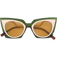 Fendi 'Orchidea' sunglasses (1.970 BRL) ❤ liked on Polyvore featuring accessories, eyewear, sunglasses, glasses, fendi, green, cut out sunglasses, two-tone sunglasses, cut out cat eye sunglasses and logo sunglasses