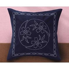 Sashiko cushion cover. Japanese Indigo Cotton. 45cm x 45cm.