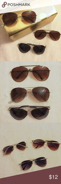 Three Pairs of Aviator Sunglasses - Sunnies Bundle of three pairs of aviator sunglasses, I believe two are from Nordstrom's BP section and one from Forever 21, pre-loved sunglasses Nordstrom Accessories Sunglasses
