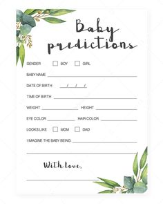 Gender neutral baby shower ideas Watercolor leaves baby predictions game printable by LittleSizzle Classy Baby Shower, Deco Baby Shower, Baby Shower Gift Bags, Baby Shower Wishes, Baby Shower Advice, Shower Bebe, Unique Baby Shower, Gender Neutral Baby Shower, Shower Ideas