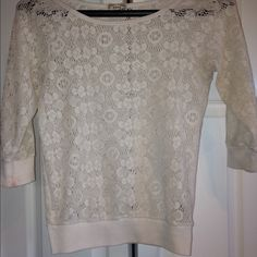 White Lace Top Pac sun, lace top, quarter length sleeves. Kirra Tops Camisoles
