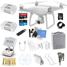 DJI Phantom 4 Drone Quad Copter W/ 4K Camera Gimbal & EVERYTHING YOU CAN THINK OF KIT: 1 Extra DJI Battery, 1x 64GB Ultra High Speed SD Card, Neck Strap, Surmik® Lens Hood & More -- You can find out more details at the link of the image.