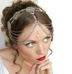 Wedding Couture Circlet Headdress by BeasleysWonders Style Steampunk, Head Jewelry, Gypsy Jewelry, Jewellery, Circlet, Belly Dance Costumes, Mode Vintage, Bandeau, Boho