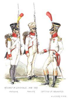 Regno di Westfalia - Regiment de Westphalie, 1808-09 - Voltiguer, Fucilier, Capitaine des Grenadiers
