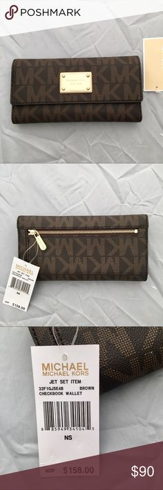 NWT MK Jet Set Checkbook Wallet Brand new authentic Michael Kors PVC Checkbook Wallet.  Exterior zip pocket. Gold-tone hardware. Snap closure: Interior: credit cad slots, a checkbook compartment, a bill compartment, a pen holder & pen, and an ID window.   Manufacturer's defect: light pink staining on plastic ID slip.  Item no: 32F1GJSE4B Michael Kors Bags Wallets