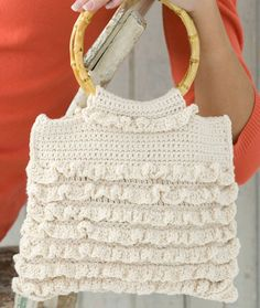 Crochet Ruffled Bag FREE PDF Pattern at this link http://www.redheart.com/files/patterns/pdf/WR1824.pdf
