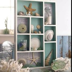 Beach shadow box - maybe I can do this with those odd box/trays from the Melissa and Doug toys.