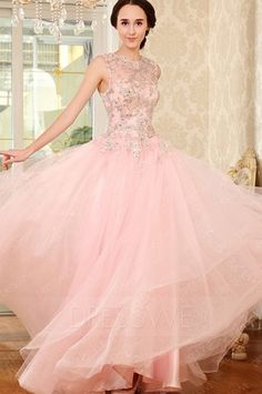 Luxurious Beading Lace-Up A-Line Floor Length Evening/Prom Dress