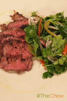Grilled Hanger Steak with Pickled Chili Salad. This grilled steak & salad is a delicious dinner for your family! The Chew Recipes, Veal Recipes, Wine Recipes, Salad Recipes, Cooking Recipes, Grilled Steak Salad, Grilled Beef, Healthy Cooking, Healthy Recipes