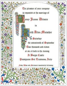 custom wedding invitations for theme weddings renaissance weddings medieval weddings - Medieval Wedding Invitations