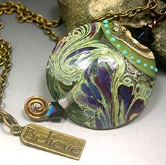 HANDMADE LAMPWORK Glass Beads PENDANT Necklace by Donna Millard