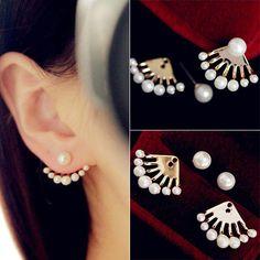 GDSHOP Fashion Front & Back Earrings Pearl Ear Earbobs Ear Clips Studs earrings for women - Jewelry For Her Pearl Stud Earrings, Pearl Studs, Women's Earrings, Gold Necklace, Bridal Jewelry, Gold Jewelry, Fine Jewelry, Trendy Jewelry, Women Jewelry