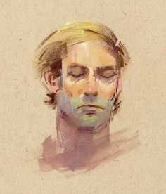 Joe Kresoja  contemplation  gouache on toned paper