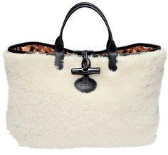 Longchamp Sac cabas Roseau Panthère en fourrure de mouton