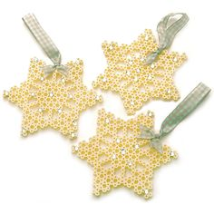 Make this beautiful set of sparkling snowflake ornaments with Perler Beads! Make this beautiful set of sparkling snowflake ornaments with Perler Beads! These pretty lacy patte Hama Beads Design, Diy Perler Beads, Hama Beads Patterns, Perler Bead Art, Beading Patterns, Christmas Perler Beads, Beaded Christmas Ornaments, Snowflake Ornaments, Christmas Crafts