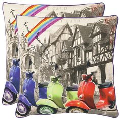 From the half-timbered wood beam architecture, to a brilliant rainbow and the state of the art motorcycles, this accent pillow is the epitome of Europe's artful blend of old and new.