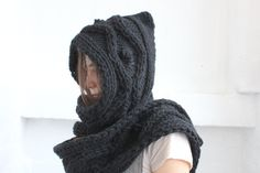 Hooded Scarf. Long Scarf. Wool Scarf. Chunky Scarf. by MyTinyTree