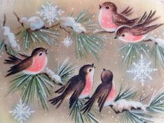 Sweet Pink Birds in the Snow-Vintage Christmas Greeting Card Holiday Images, Vintage Christmas Images, Vintage Holiday, Christmas Pictures, 50s Vintage, Christmas Bird, Christmas Past, Retro Christmas, Vintage Greeting Cards