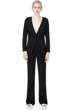 Collarless Blazer with Lace detail