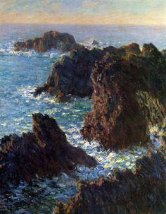 Reproduction de Monet, Pics de rocher à Belle-ile. Tableau peint à la main dans nos ateliers. Peinture à l'huile sur toile.