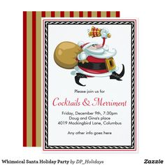 Whimsical Santa Holiday Party Card - Set the tone for a whimsical holiday party with this festive invitation. Sold at DP_Holidays on Zazzle.