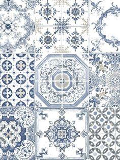 Papier peint vinyle imitation carrelage ancien bleu ugepa for Acheter carrelage ancien
