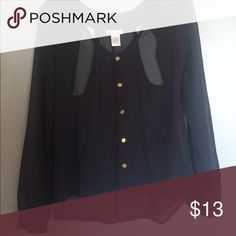 Ladies black button up shirt Sheer Black button up with cut outs in the back and gold buttons. Super cute and very versatile! Smoke free home Tops Blouses