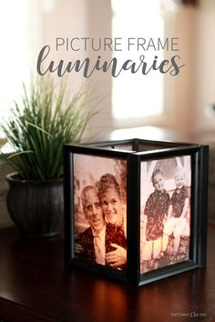Picture Frame Luminaries are a great idea for any gift idea, centerpiece or mantel decor! Supplies from the dollar store make it even more awesome!