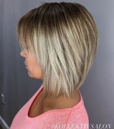 Straight Bronde Bob With Bangs