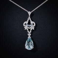 Something both old and blue :)  Edwardian Style Aquamarine & Diamond Pendant Necklace.