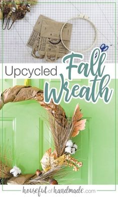 Create a beautiful fall wreath on a budget with this easy upcycle project. Use brown paper grocery bags to create the DIY wreath form for a rustic fall wreath for your fall decor. Housefulofhandmade.com #FallWreath #FallDecor #PaperBagWreath Diy Fall Wreath, Fall Diy, Paper Grocery Bags, Soda Can Art, Wreath Supplies, House Ornaments, Wreath Forms, Fall Crafts, Brown Paper