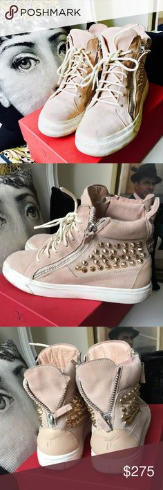 e44d56a87fded Giuseppe Zanotti Pink Suede Stud Wedge Sneakers GIUSEPPE ZANOTTI gold  studded blush pink suede lace-