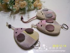 Key fobs! Turn the cord part around so the key comes out of the mouse's mouth and when hidden, the cord becomes the tail!