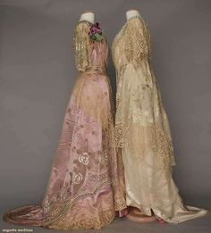 Ball Gowns (image 2) | 1912-1916 | satin brocade, silk charmeuse, sequins, Brussels lace | Augusta Auctions | April 20, 2016/Lot 193