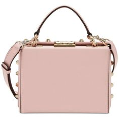 Guess Hanson Trunk Bag ($88) ❤ liked on Polyvore featuring bags, handbags, light rose, rose purse, strap purse, pink purse, guess bags and punk purse
