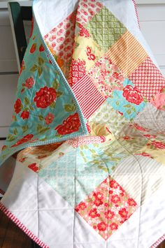 Baby Quilt - Moda Marmalade - Patchwork Quilt - Baby Blanket - Modern Baby Quilt - Quilted Blanket. $100.00, via Etsy.
