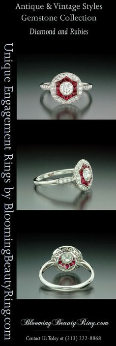 Antique Ruby and Diamond Filigree Ring by BloomingBeautyRing.com  (213) 222-8868