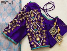 Stunning powder blue color designer blouse with dancing peacock design hand embroidery gold thread and stone work. Pattu Saree Blouse Designs, Fancy Blouse Designs, Bridal Blouse Designs, Blouse Neck Designs, Sari Blouse, Hand Work Blouse Design, Stylish Blouse Design, Traditional Blouse Designs, Designer Blouse Patterns