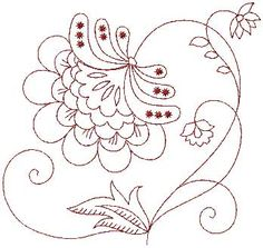 Jacobean Redwork Flower 6 (large) copyright 2011 Lindee G Embroidery. Jacobean Embroidery, Embroidery Sampler, Embroidery Transfers, Machine Embroidery Patterns, Hand Embroidery Designs, Vintage Embroidery, Ribbon Embroidery, Cross Stitch Embroidery, Modern Embroidery