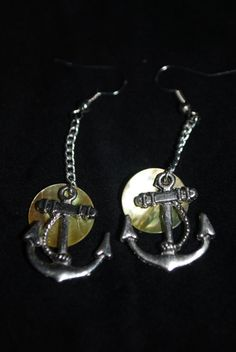 Nautical Anchor and Mussel Shell Earrings by Meghanlee5 on Etsy, $9.00