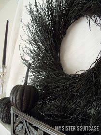 Spray paint grapevine wreath black!