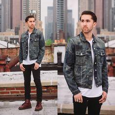 Denim Jacket, Black Skinny Jeans, Dr. Martens Cherry Boots